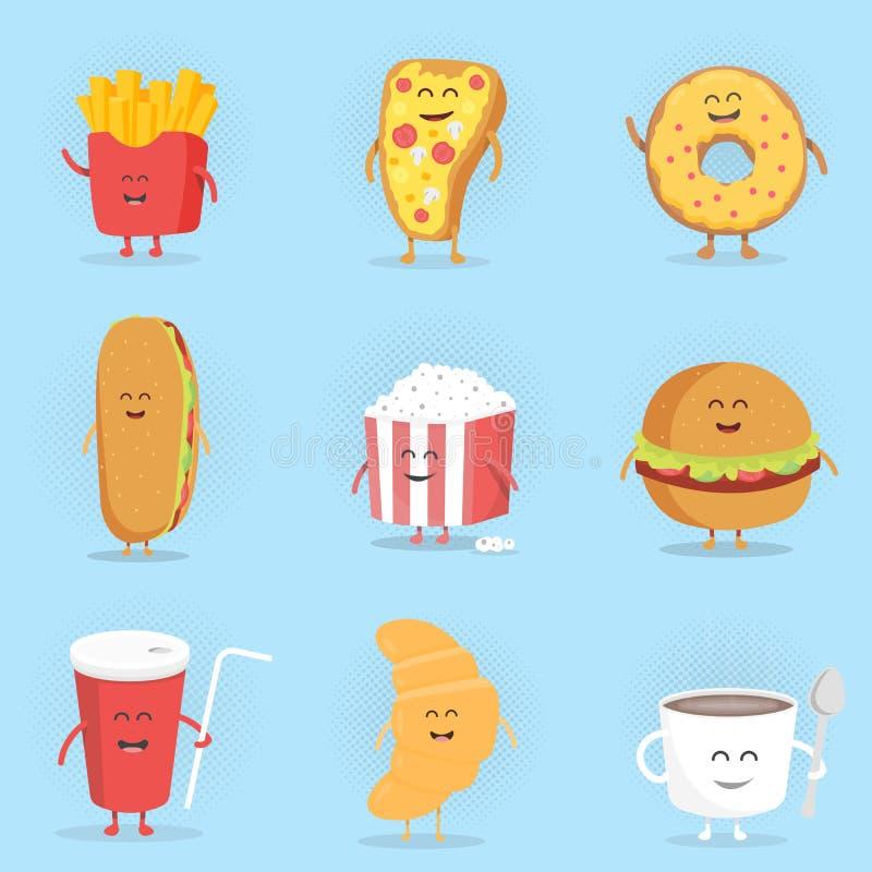 Reeks leuke karakters van het beeldverhaal snelle voedsel vector illustratie