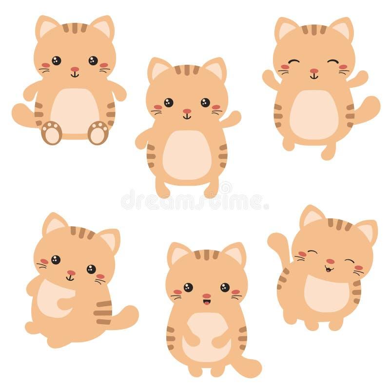 Reeks leuke katten royalty-vrije illustratie