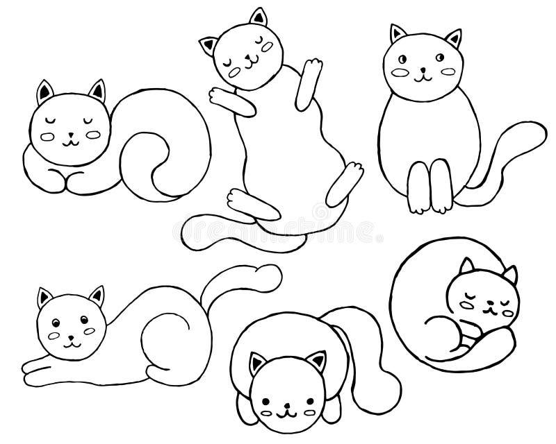 Reeks leuke katten vector illustratie