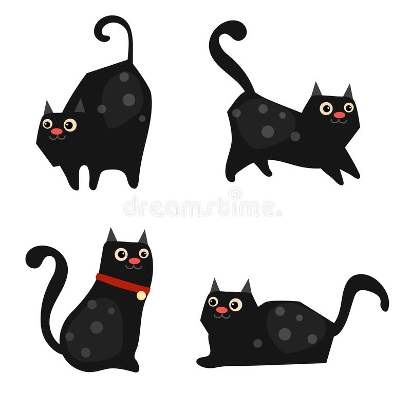 Reeks leuke katten stock illustratie