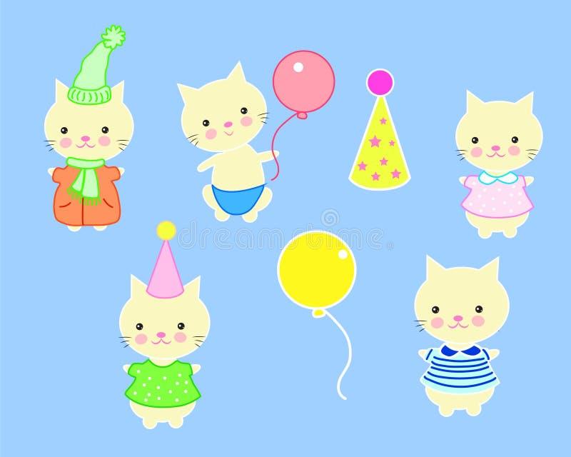 Reeks leuke katten in verschillende kostuums royalty-vrije illustratie