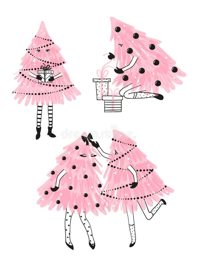 Reeks leuke Kerstbomen als meisjes Vrolijke Kerstmis royalty-vrije illustratie