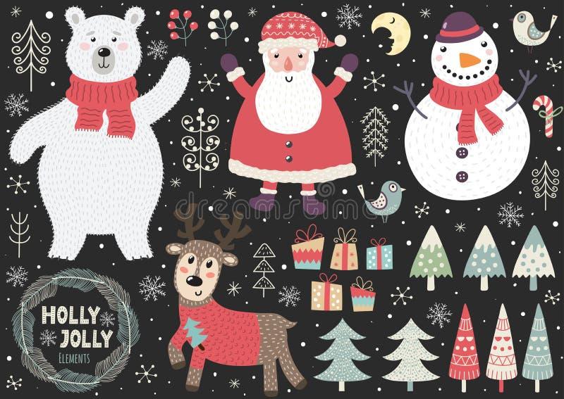 Reeks leuke Kerstmiselementen: ijsbeer, Kerstman, sneeuwman, herten, vogels stock illustratie