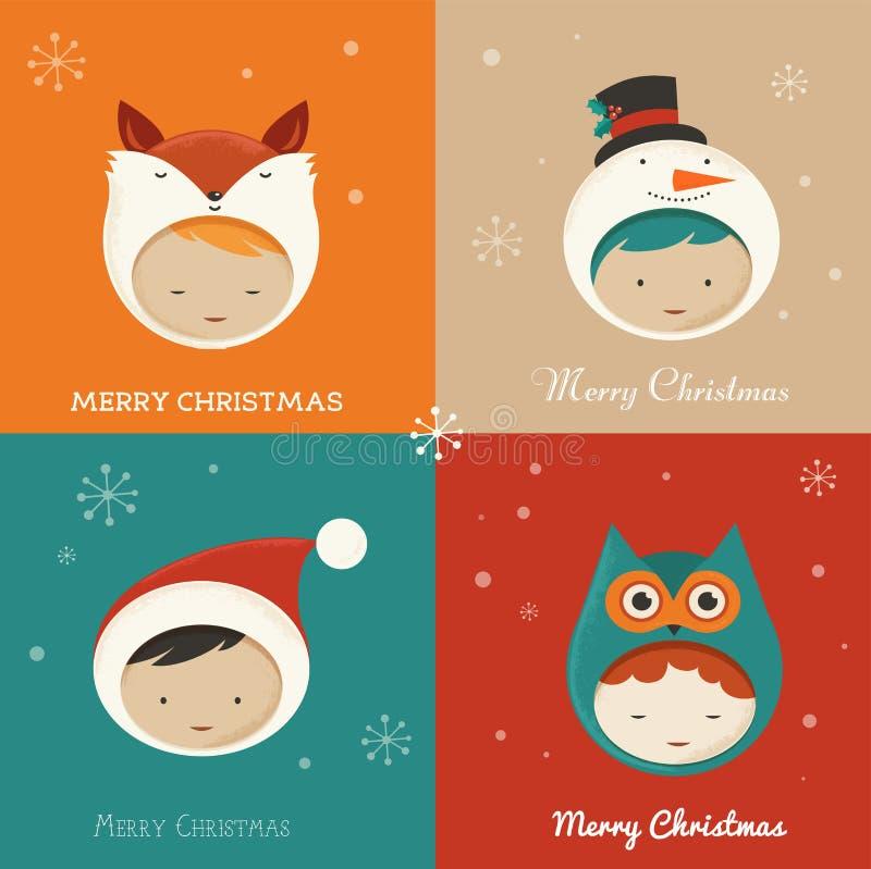 Reeks leuke Kerstmiskaarten vector illustratie