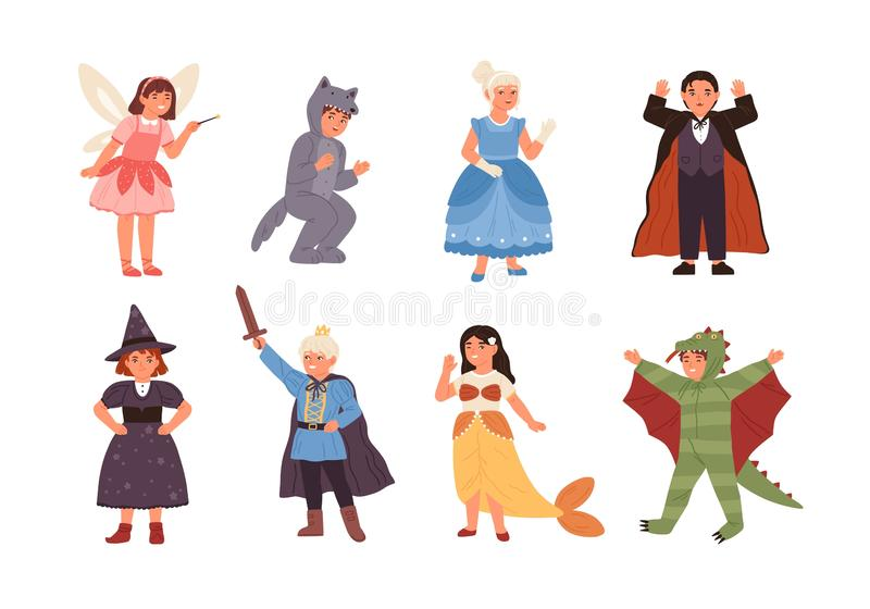 Reeks leuke kinderen die kostuums van fairytalekarakters dragen - prins, draak, elf, heks, vampier, meermin, wolf stock illustratie