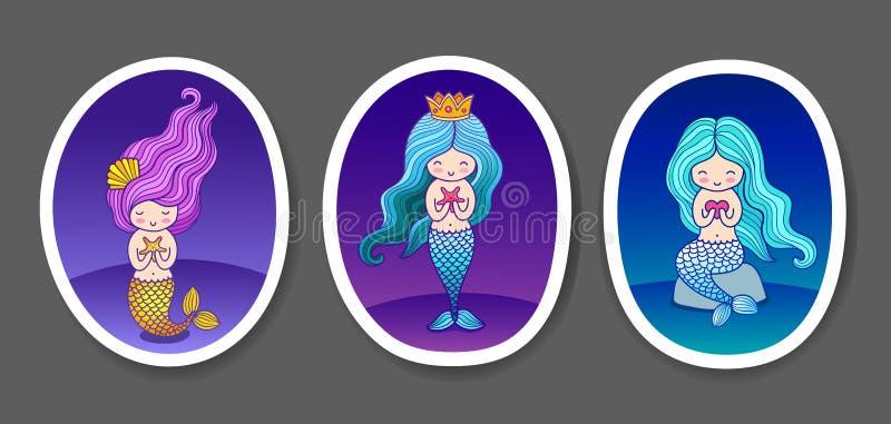 Reeks leuke kleine meerminnen op een donkerblauwe, violette overzeese gradiëntachtergrond vector illustratie