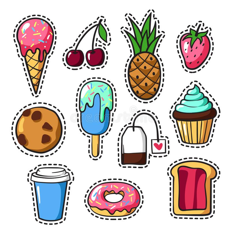Reeks leuke kleurrijke flardkentekens en spelden met voedsel, pretcartoo stock illustratie