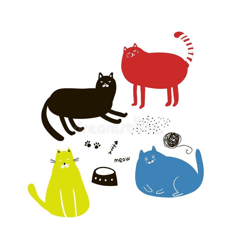 Reeks leuke kleurrijke katten in krabbelstijl vector illustratie