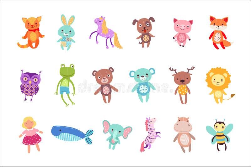 Reeks leuke kleurrijke zachte vectorillustraties van het pluche dierlijke speelgoed royalty-vrije illustratie