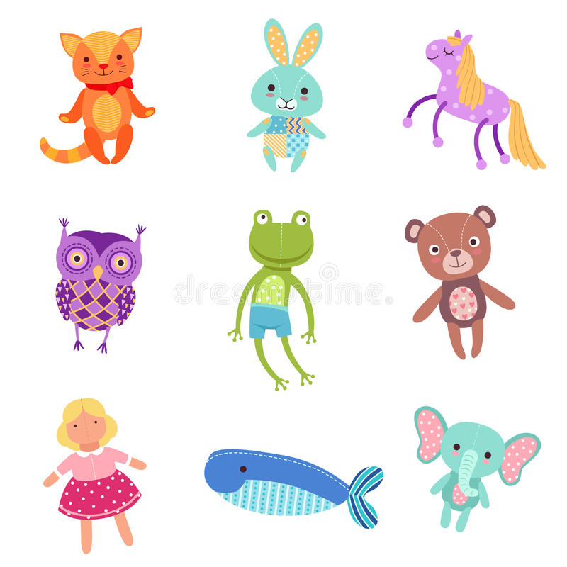 Reeks leuke kleurrijke zachte vectorillustraties van het pluche dierlijke speelgoed vector illustratie