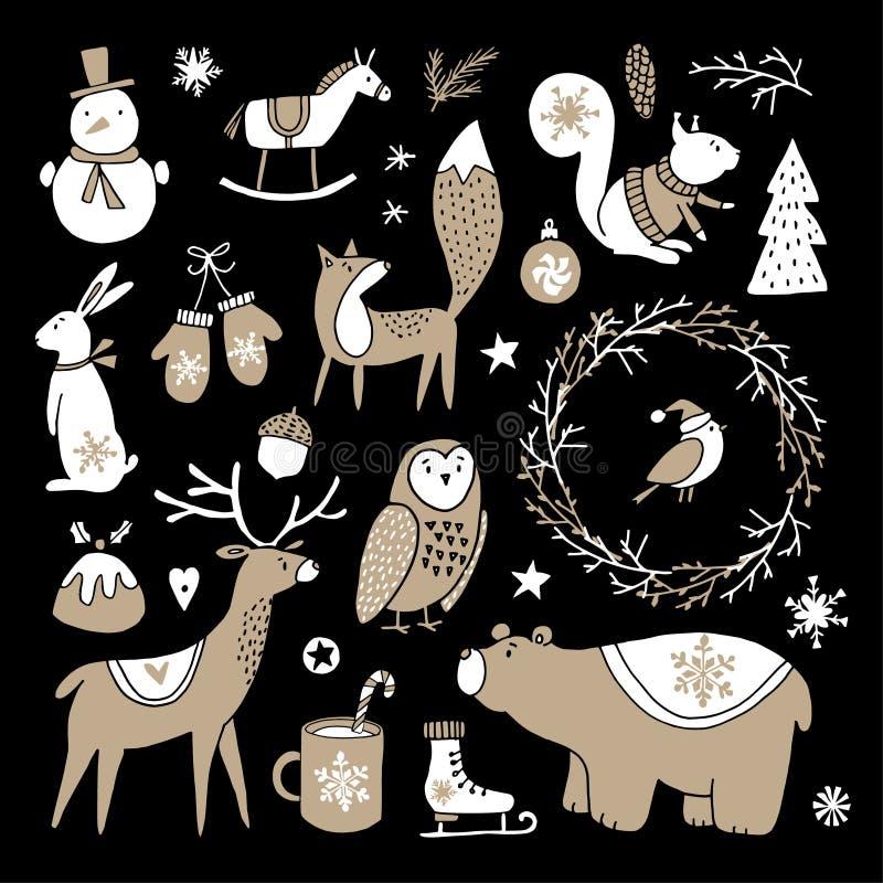 Reeks leuke krabbelschetsen Kerstmis klem-kunsten van beer, konijntje, rendier, vos, uil, eekhoorn en sneeuwman skandinavisch stock illustratie