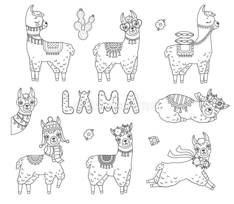 Reeks leuke lama's van de overzichtskrabbel Hand getrokken elementen stock illustratie