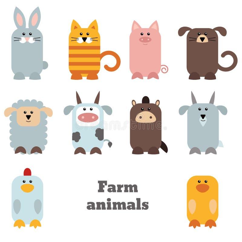 Reeks leuke landbouwbedrijfdieren vector illustratie