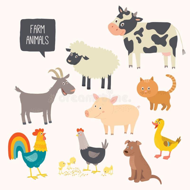 Reeks leuke landbouwbedrijfdieren - hond, kat, koe, varken, kip, haan, eend, geit vector illustratie