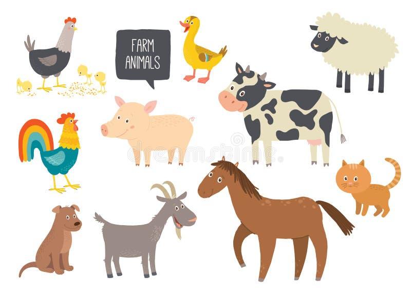 Reeks leuke landbouwbedrijfdieren Paard, koe, schapen, varken, eend, kip, geit, hond, kat, haan Beeldverhaal vectorhand getrokken royalty-vrije illustratie