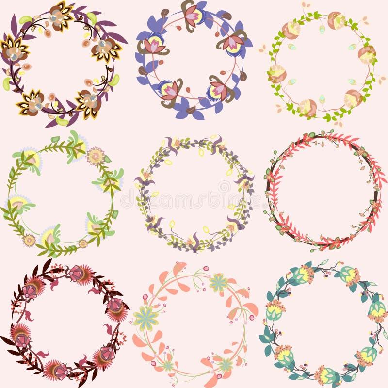 Reeks leuke multicolored bloemenkronen vectorkaders met bloemen vector illustratie