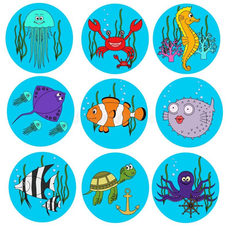 Reeks leuke overzeese dieren vector illustratie