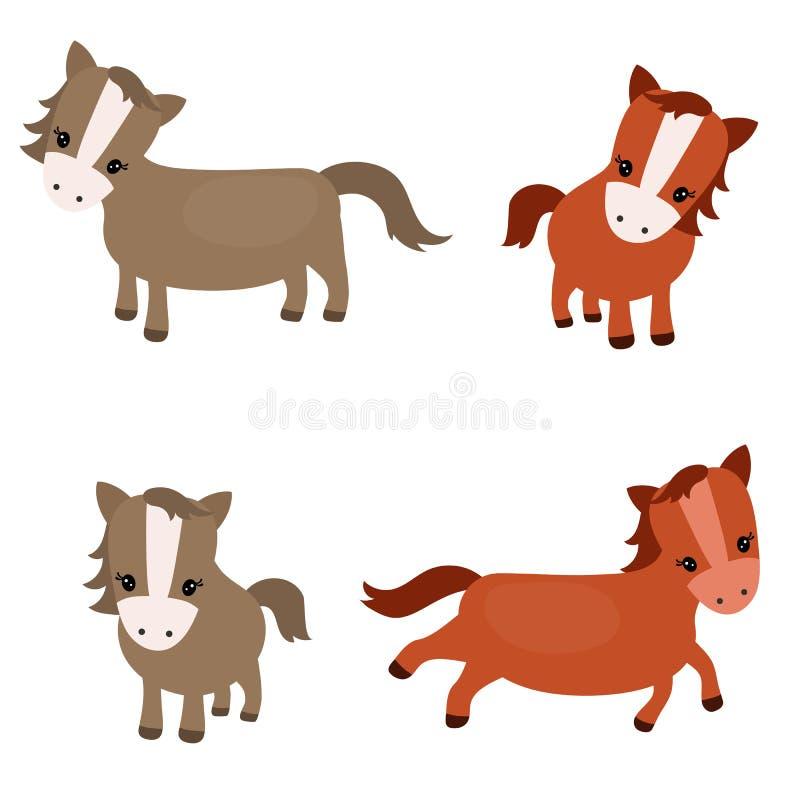 Reeks leuke paarden stock illustratie