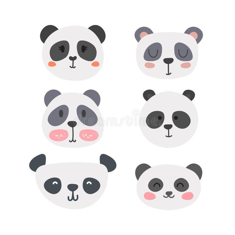 Reeks leuke panda's Grappige krabbeldieren Weinig panda in beeldverhaalstijl stock illustratie