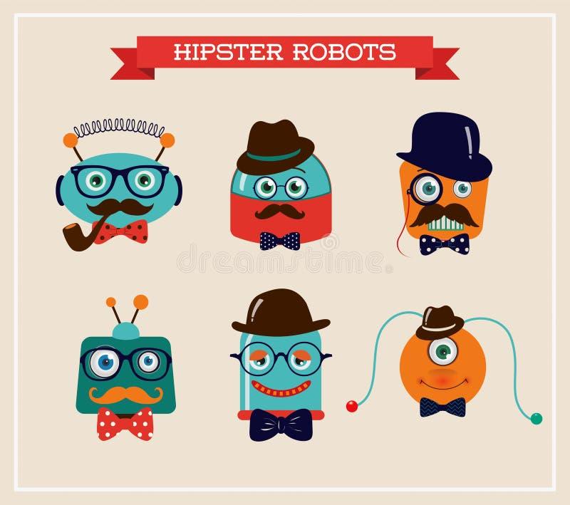 Reeks leuke retro hoofden van hipsterrobots stock illustratie
