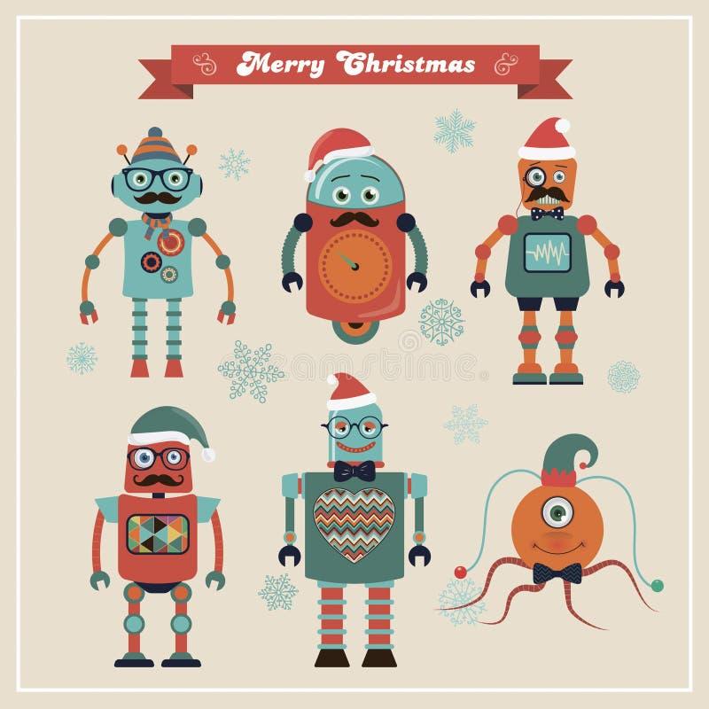 Reeks Leuke Retro Uitstekende Hipster-Kerstmisrobots royalty-vrije illustratie