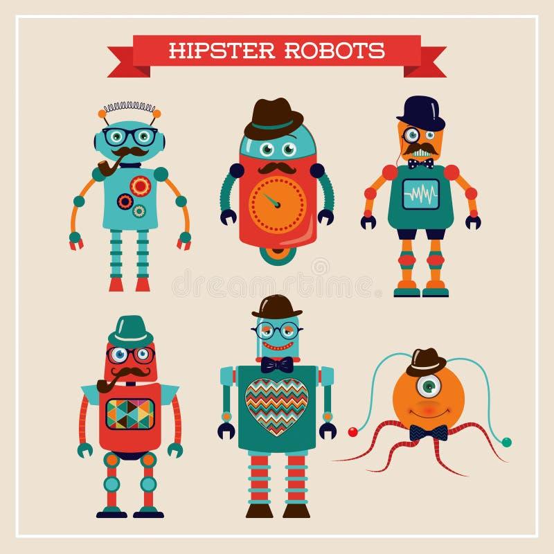Reeks leuke retro uitstekende hipsterrobots royalty-vrije illustratie