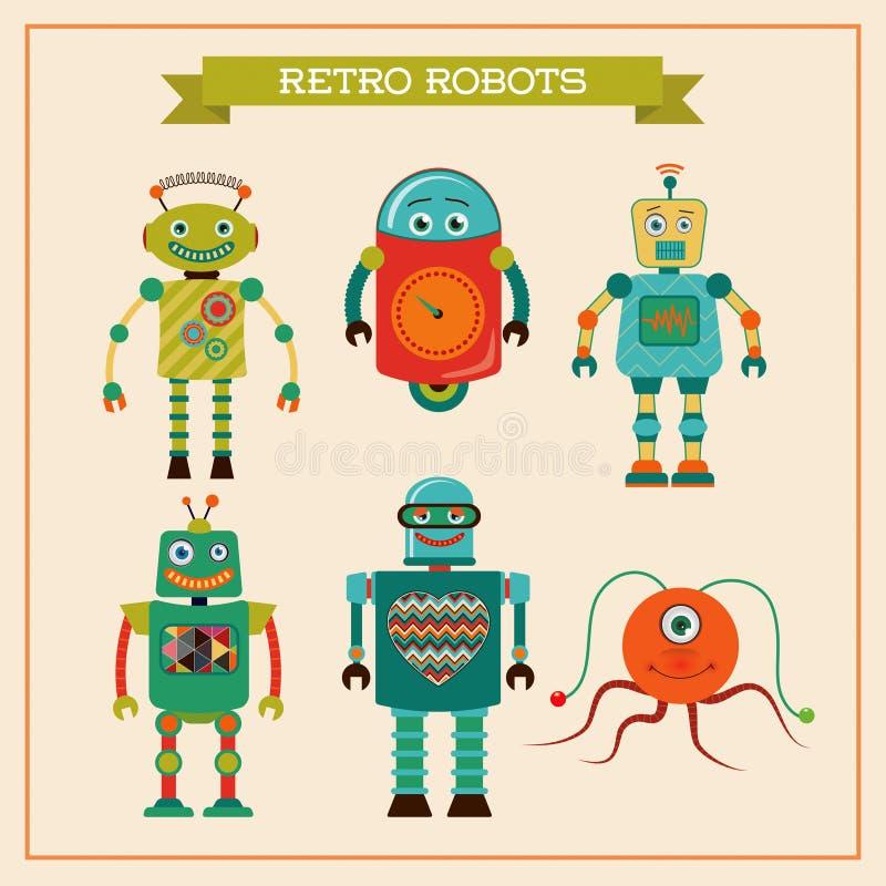 Reeks leuke retro uitstekende robots royalty-vrije illustratie
