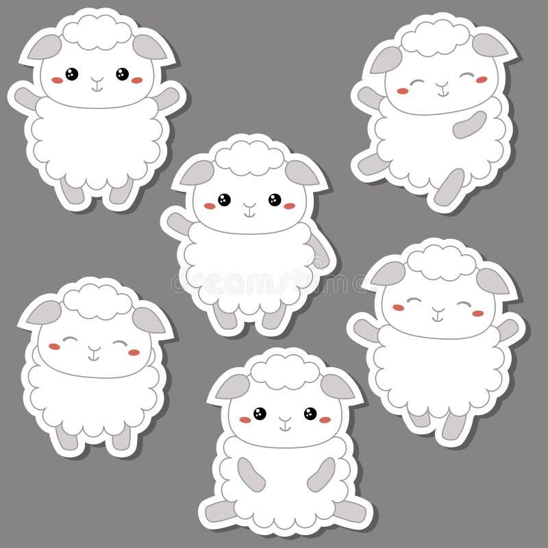 Reeks leuke schapen stock illustratie