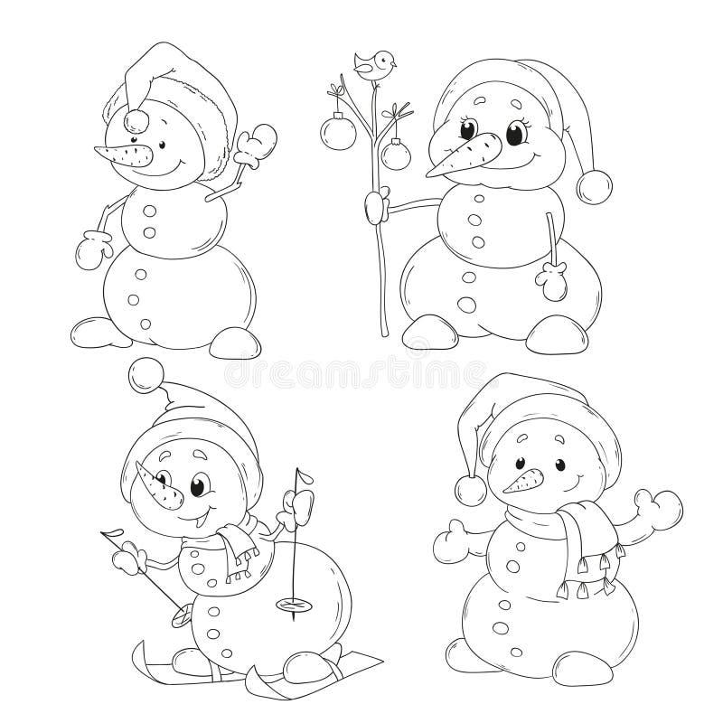 Reeks leuke sneeuwmannenkarakters die boek kleuren Kerstmis, Nieuwjaar Vector royalty-vrije illustratie