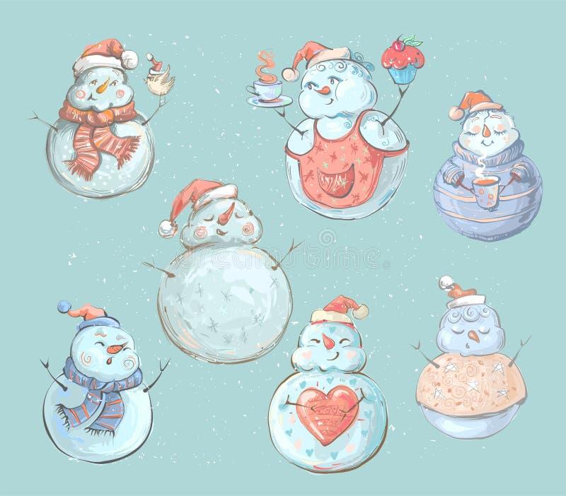 Reeks leuke speelse sneeuwmannen Elementen van de Kerstmisinzameling van karakters Gelukkig Nieuwjaar, Vrolijk Kerstmisontwerp royalty-vrije illustratie