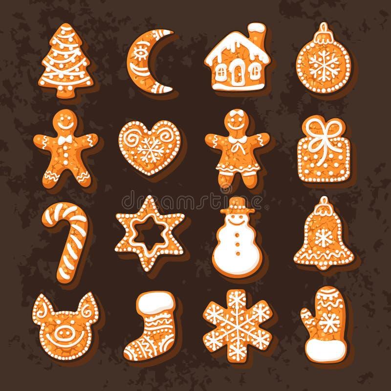 Reeks leuke traditionele koekjes van peperkoekkerstmis Hand getrokken vectordieillustratie op chocolade wordt geïsoleerd royalty-vrije illustratie