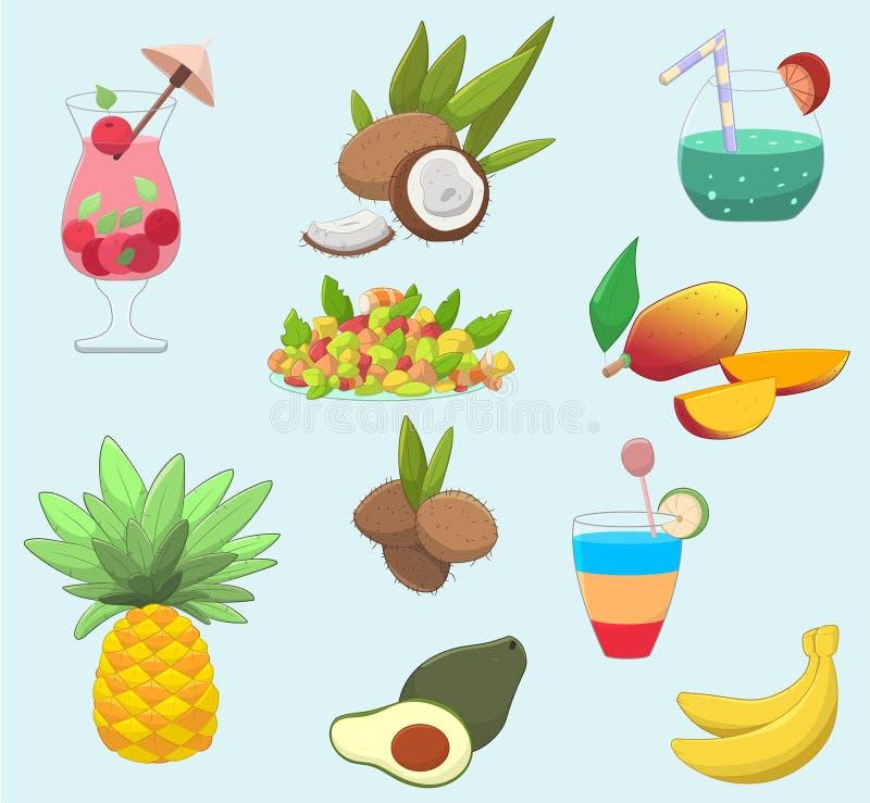 Reeks leuke tropische voedsel en dranken stock illustratie
