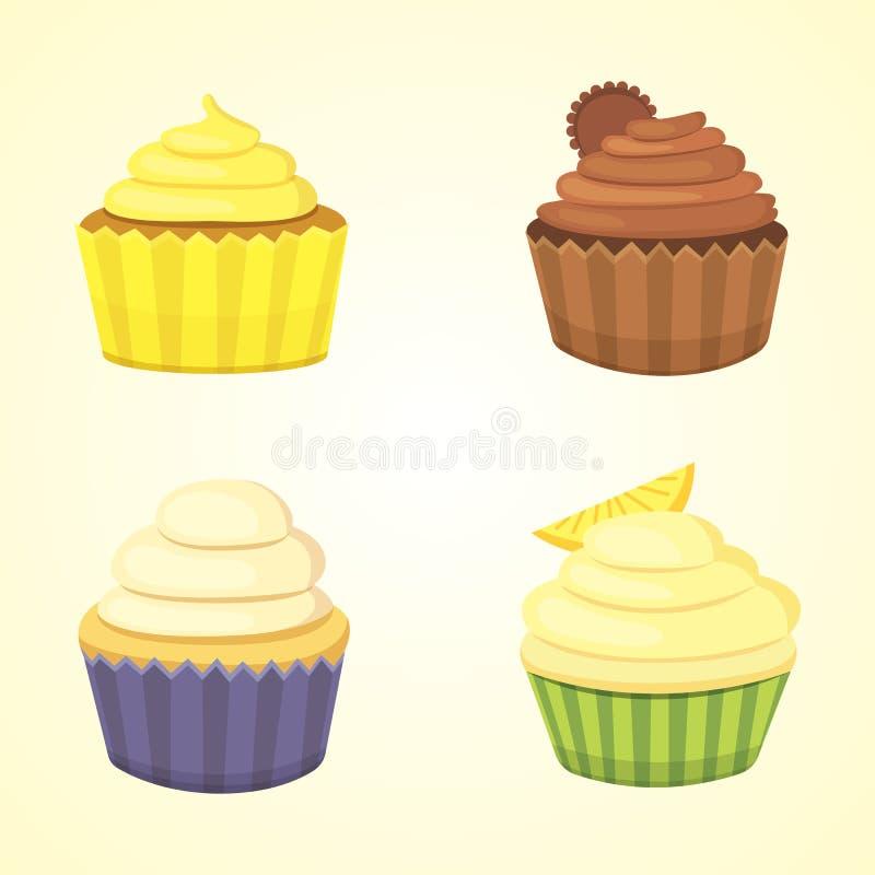 Reeks leuke vector cupcakes en muffins Kleurrijke cupcake voor het ontwerp van de voedselaffiche stock illustratie