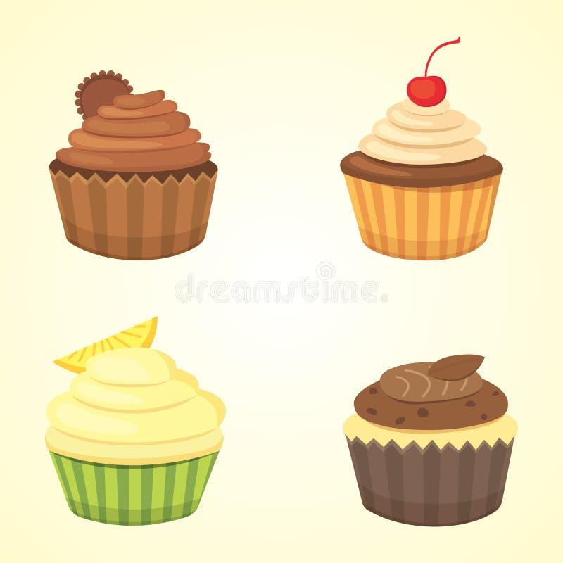 Reeks leuke vector cupcakes en muffins Kleurrijke die cupcake voor het ontwerp van de voedselaffiche wordt geïsoleerd vector illustratie