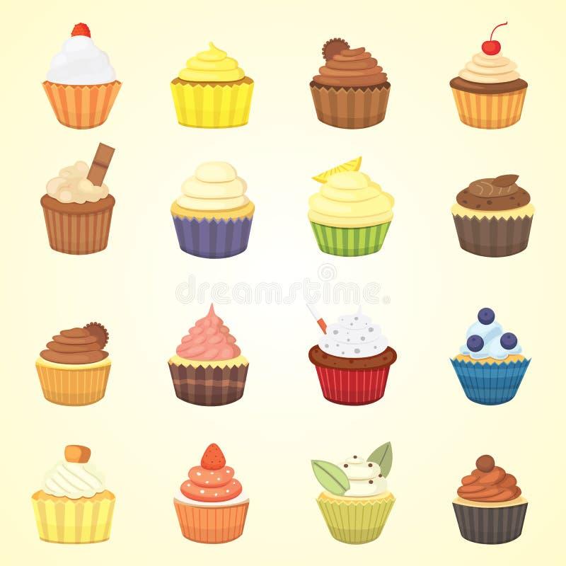 Reeks leuke vector cupcakes en muffins Kleurrijke die cupcake voor het ontwerp van de voedselaffiche wordt geïsoleerd stock illustratie