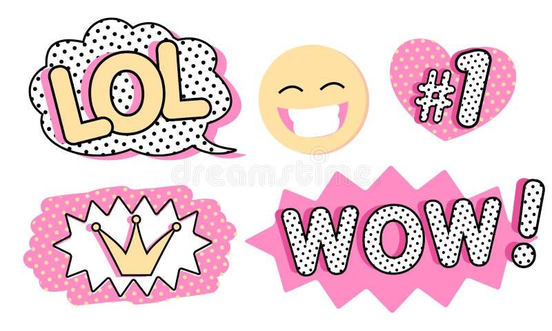 Reeks leuke vectorstickers Bel voor tekst, prinseskroon, WAUW, LOL-pictogrammen en het lachen emoji royalty-vrije illustratie