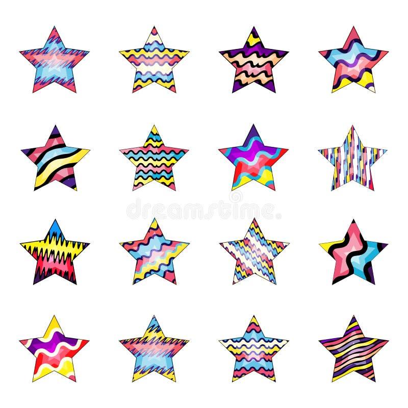 Reeks leuke veelkleurige gestreepte sterren die op witte achtergrond wordt ge?soleerd stock foto