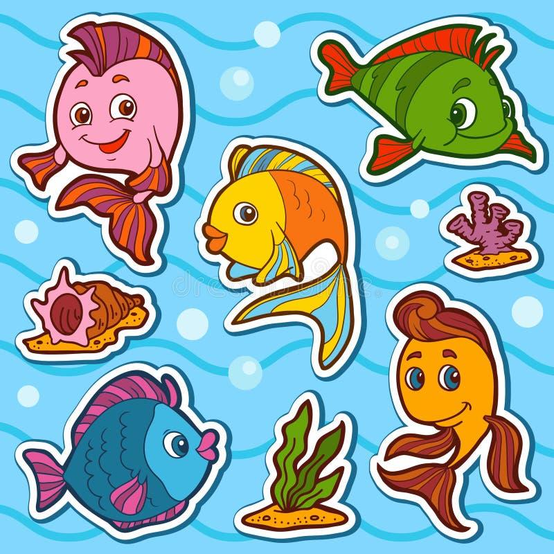 Reeks leuke vissen en natuurlijke plaatsen, vectorstickers royalty-vrije illustratie