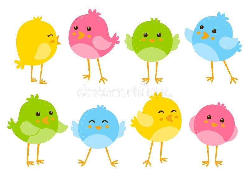 Reeks leuke vogels royalty-vrije illustratie