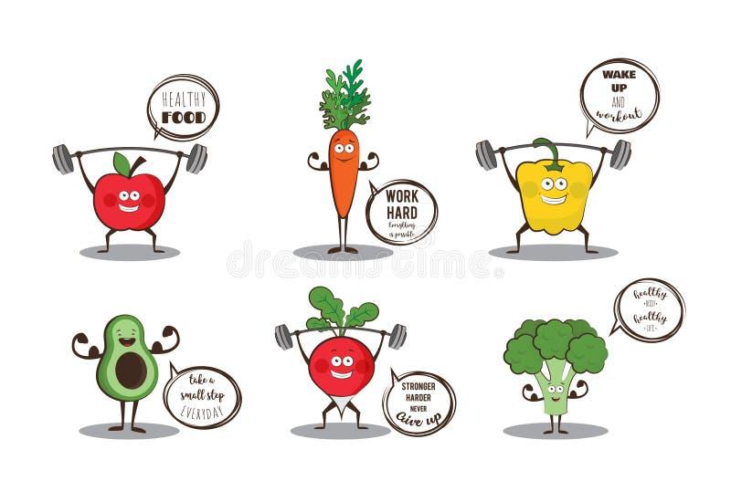 Reeks leuke vruchten en groenten die sport met motivatiecitaten doen royalty-vrije illustratie