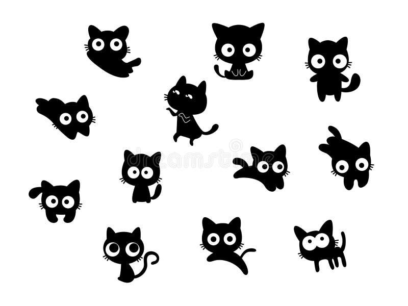Reeks leuke zwarte katten vector illustratie