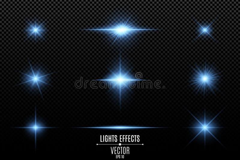 Reeks lichteffecten, lichten en vonken Blauwe lichten op een transparante achtergrond Heldere blauwe flitsen en glans Heldere str royalty-vrije illustratie