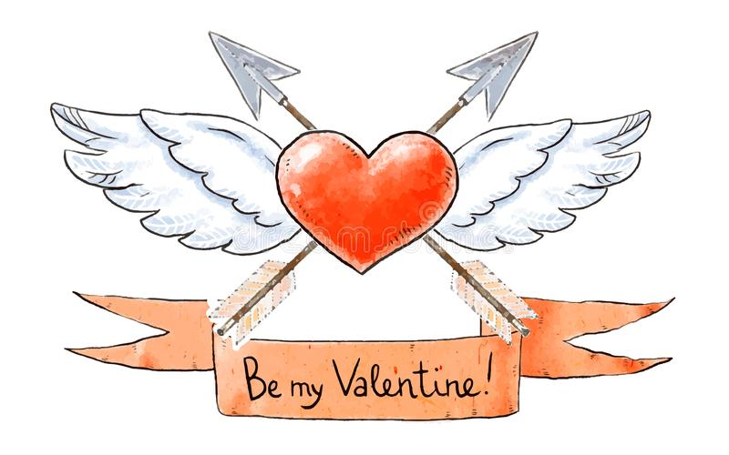Reeks liefdeelementen voor Valentijnskaartendag Het gevleugelde hart met uitstekende pijlen en is mijn Valentine-het van letters  stock illustratie