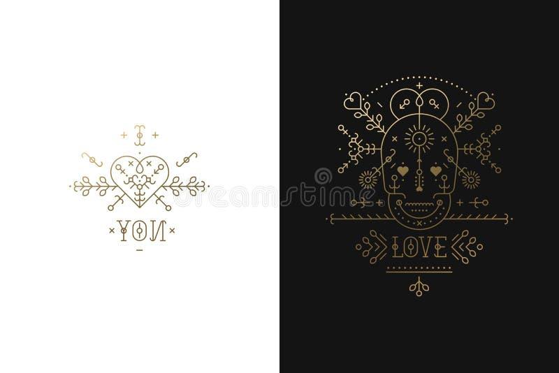 Reeks Liefdekaarten royalty-vrije illustratie