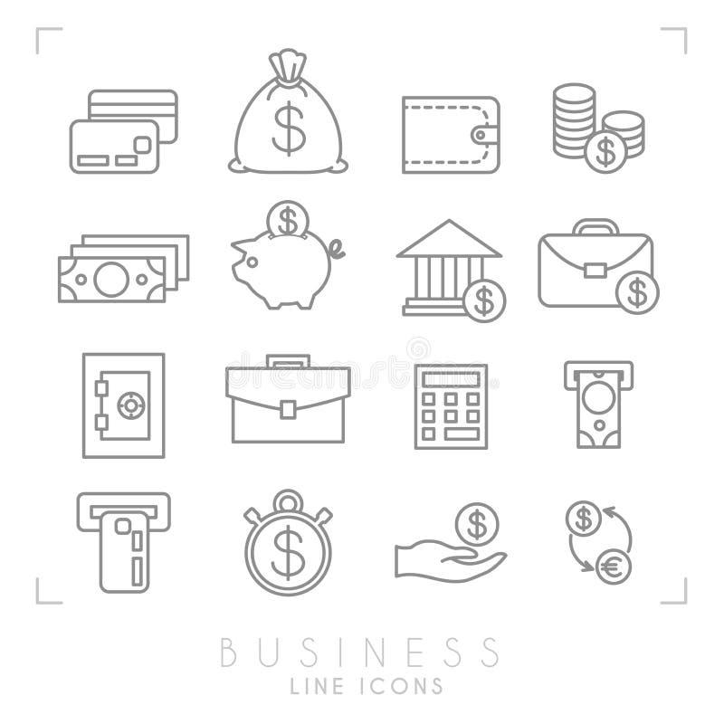 Reeks lijn dunne zaken en financiële pictogrammen stock illustratie