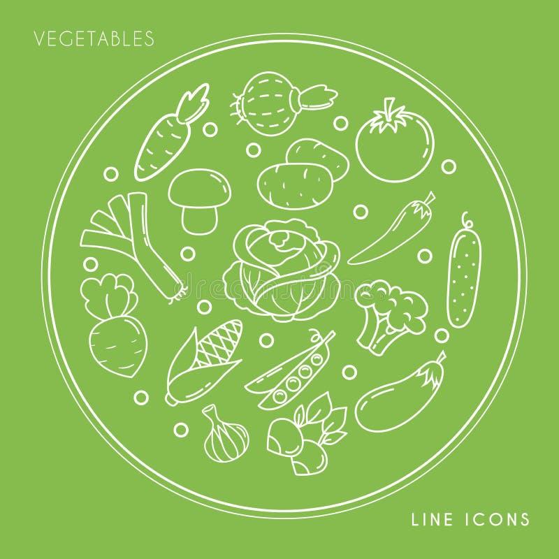 Reeks lijn witte plantaardige die pictogrammen in cirkel op groene achtergrond wordt geïsoleerd Landbouwbedrijf vers en gezond vo royalty-vrije illustratie