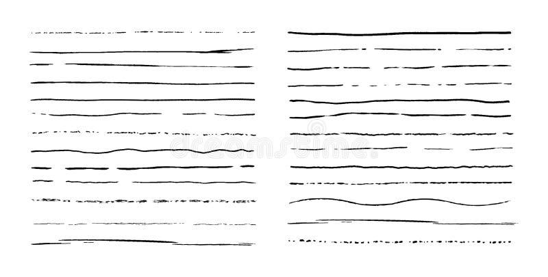 Reeks lijnen Hand getrokken vectorgrenzen De uitstekende krabbel onderstreept Het element van het beeldverhaalpatroon Het frame v royalty-vrije illustratie