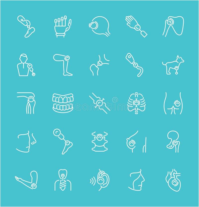 Reeks Lijnpictogrammen van Prosthetics vector illustratie