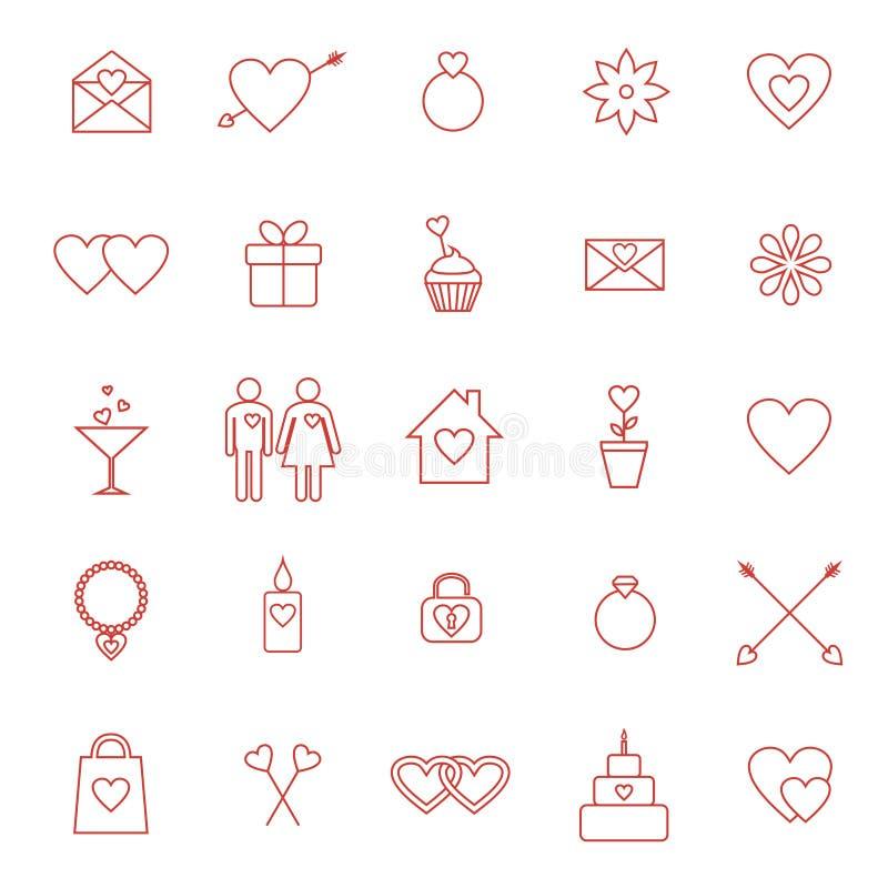 Reeks lijnpictogrammen voor de dag of het huwelijk van Valentine stock illustratie