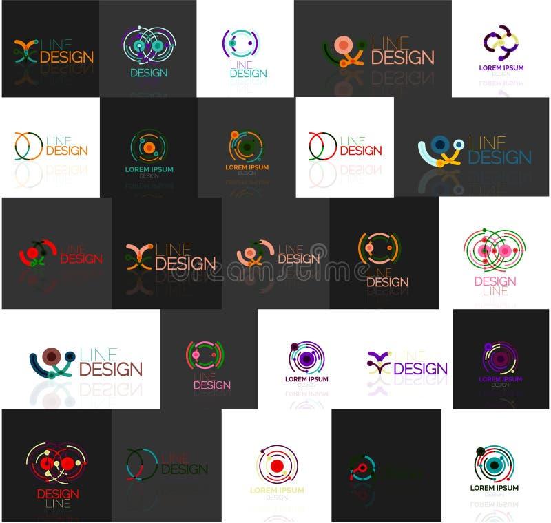 Reeks lineaire abstracte emblemen Werveling, cirkel stock illustratie